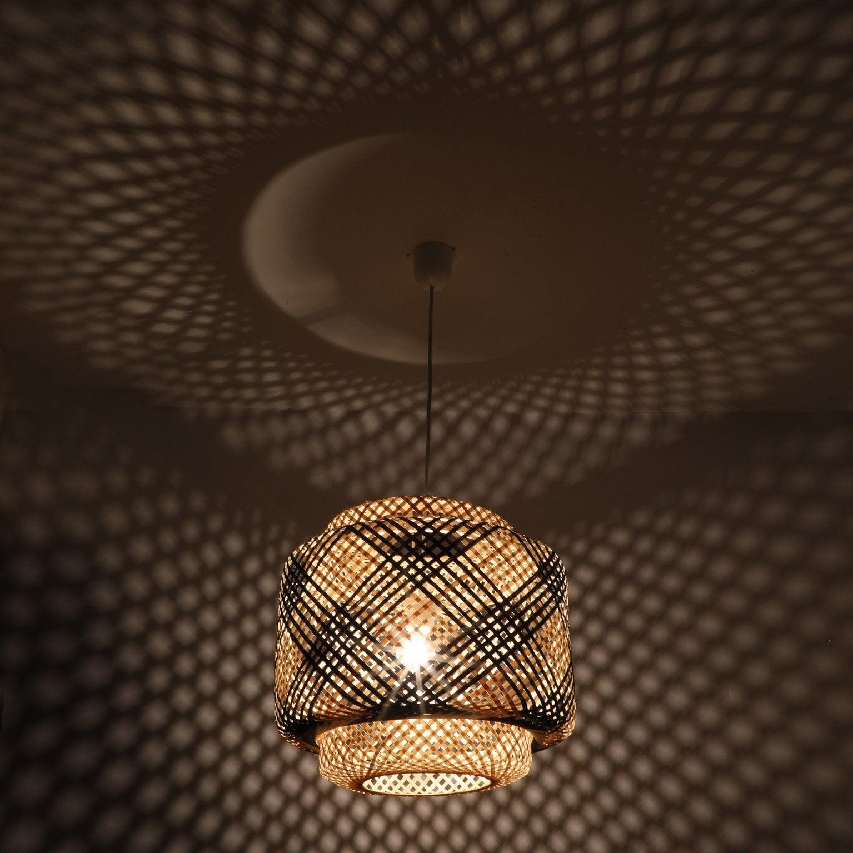 Suspension, éthnique wengé naturel LUSSIOL Doramu 1 lumière(s) D.40 cm