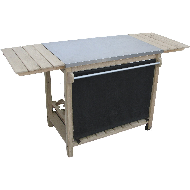 desserte eno pour plancha 92 156x85 gris et marron. Black Bedroom Furniture Sets. Home Design Ideas