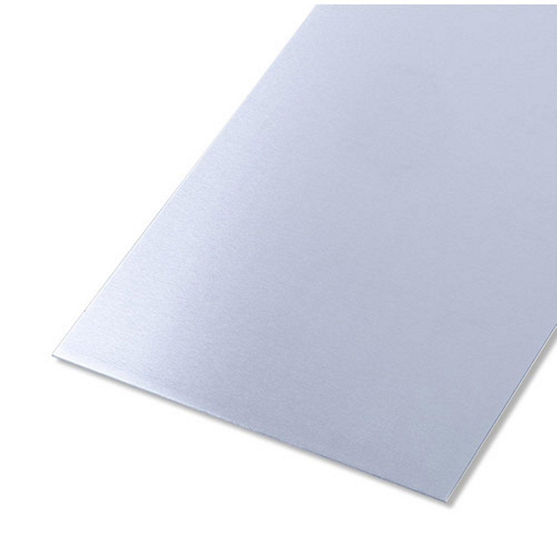 tôle acier inoxydable lisse brut gris l.25 x l.50 cm ep.0.5 mm