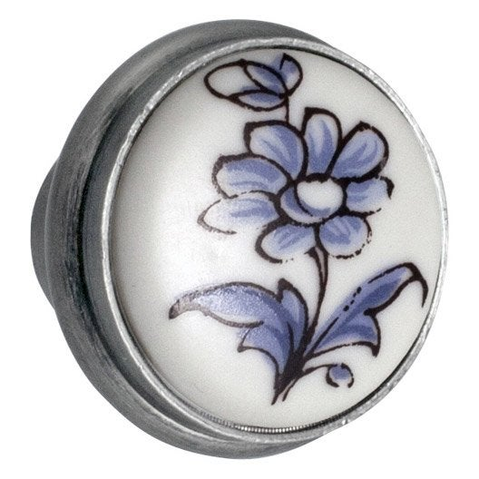 bouton de meuble fleur porcelaine brillant leroy merlin. Black Bedroom Furniture Sets. Home Design Ideas