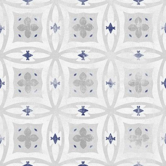 Papier peint intiss carreaux de ciment bleu leroy merlin for Papier peint carreaux de ciment 4 murs