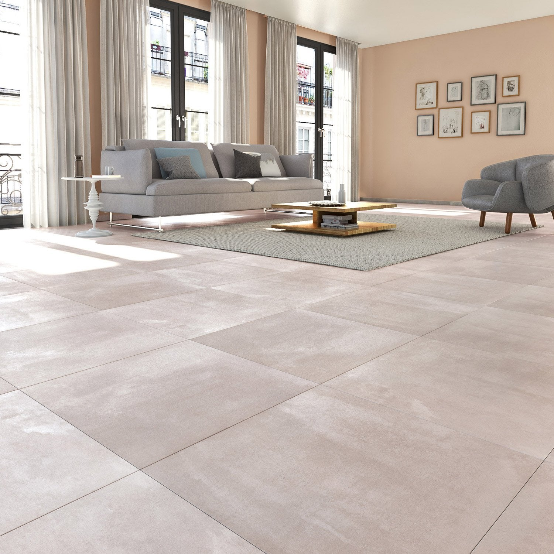 Carrelage sol et mur gris clair effet b ton matinon x for Carrelage gris beton
