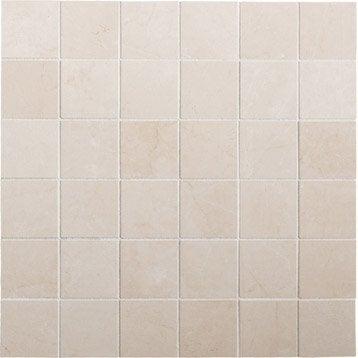 Mosa que et galets pour carrelage de salle de bains au for Carrelage 5x5 blanc