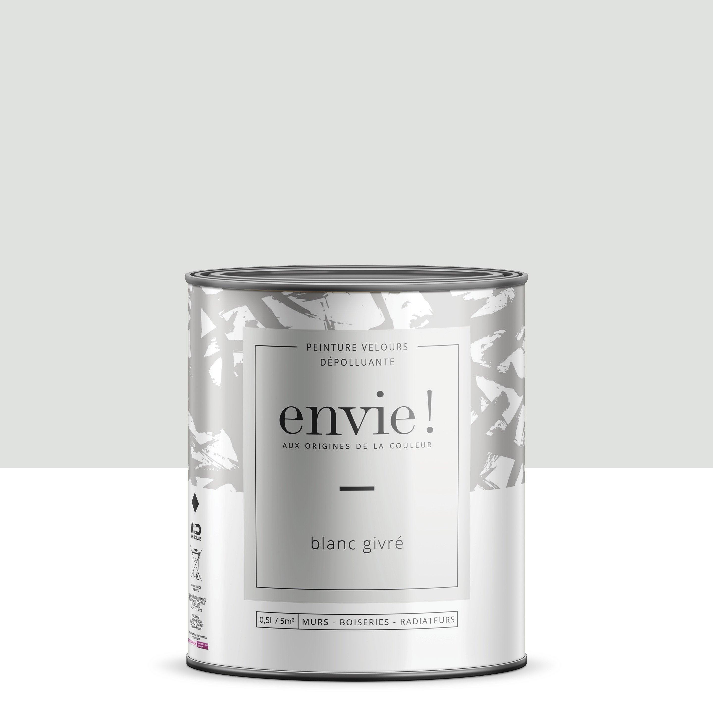 Peinture dépolluante mur, boiserie, radiateur ENVIE blanc givre velours 0.5 l