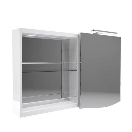 Armoire avec clairage int gr cm blanc decotec for Interrupteur porte coulissante