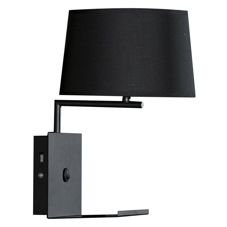 Applique, design e27 Tulsa métal noir, 1 lumière