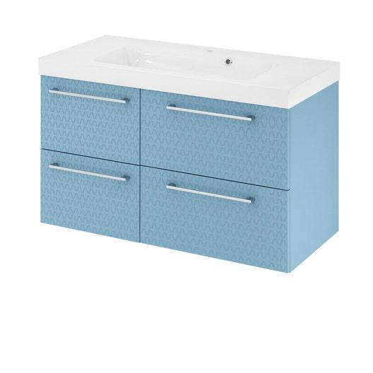 meuble de salle de bains remix bleu 3d simple vasque 4 tiroirs leroy merlin. Black Bedroom Furniture Sets. Home Design Ideas