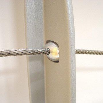 5 passe-câbles TIERAL pour poteau intermédiaire en métal gris, H.2.5 x l.1.5 cm