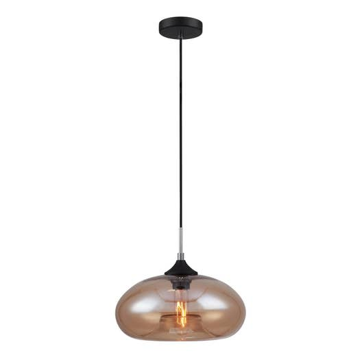 suspension e27 style industriel bronks verre chrome 1 x 40 w lussiol leroy merlin. Black Bedroom Furniture Sets. Home Design Ideas