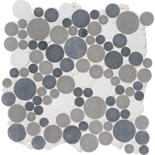 Mosa que sol et mur splash gris et blanc leroy merlin - Faience adhesive leroy merlin ...