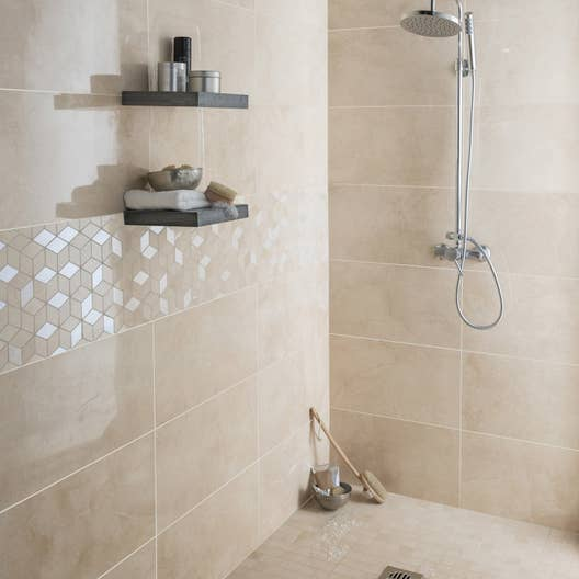 Fa ence mur beige murano x cm leroy merlin for Douche italienne claire