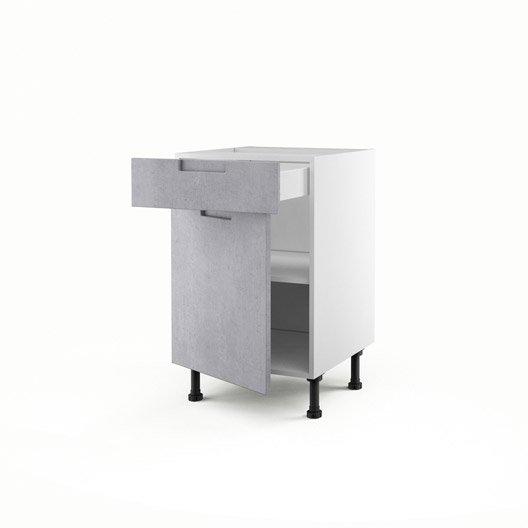 Meuble de cuisine bas d cor b ton 1 porte 1 tiroir berlin for Meuble cuisine 50 x 70