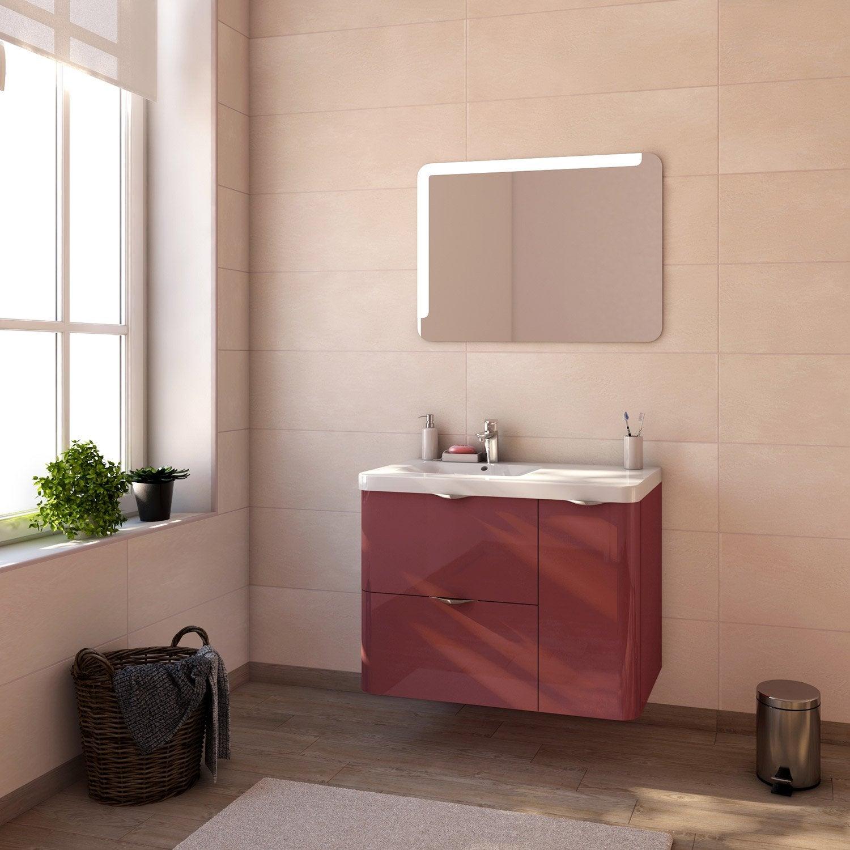 Meuble de salle de bains neo shine rouge marsala brillant - Concevoir salle de bain ...