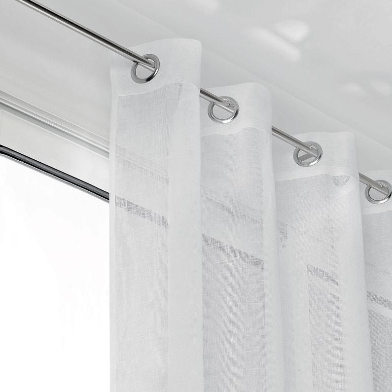 Voilage Tamisant Grande Largeur Linum Blanc L 285 X H 250 Cm