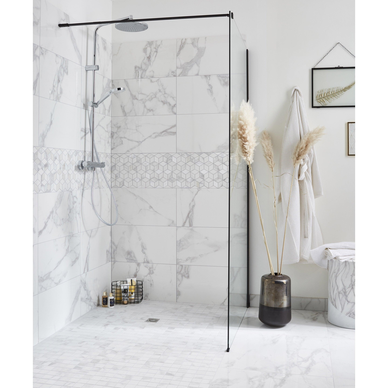 Carrelage mur marbre blanc carrare brillant l.30.5 x L.56 cm, Murano
