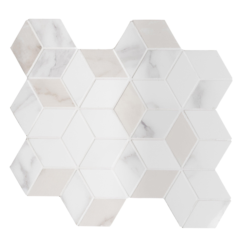 Hexa Mosaïque Carrare Mur Blanc Murano WrdCBoxe