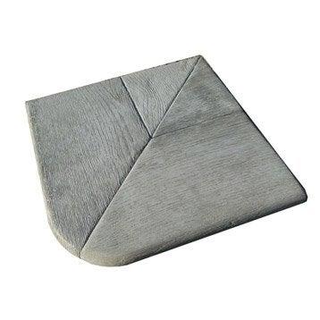 Margelle Alpège en pierre reconstituée gris, L.35 x l.35 x Ep.3.5 cm
