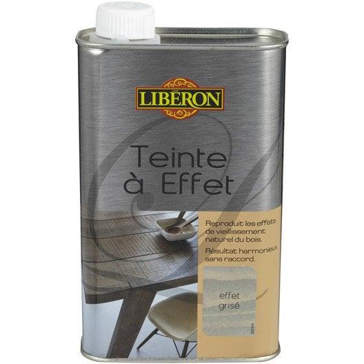 Teinte effet liberon 0 5 l effet gris leroy merlin for Peinture porte bois effet vieilli