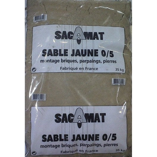 sac de sable jaune 0/5, 35 kg | leroy merlin