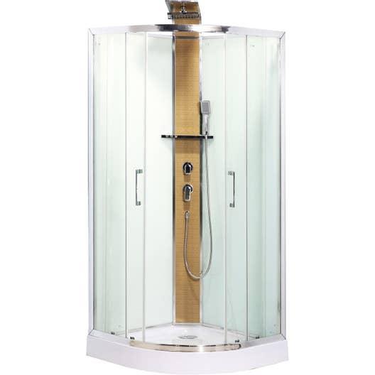 Cabine de douche 1 4 de cercle 90x90 cm remix leroy merlin for Cabine rocciose md cabine