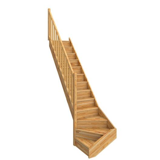 escalier quart tournant bas gauche deva bois lamell coll leroy merlin. Black Bedroom Furniture Sets. Home Design Ideas