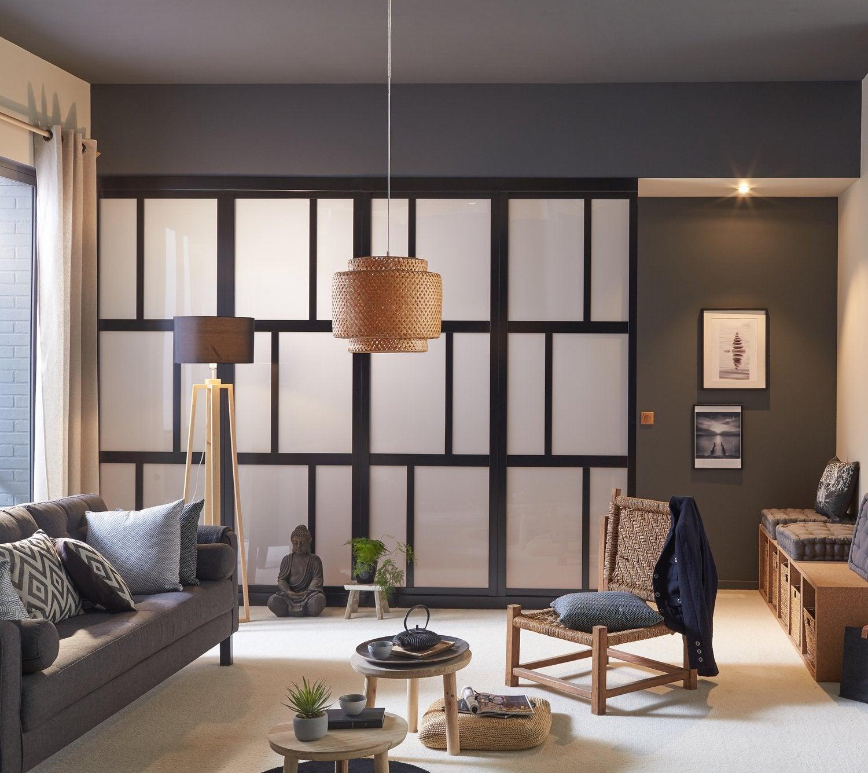 style industriel pour une porte coulissante en bois et alu. Black Bedroom Furniture Sets. Home Design Ideas