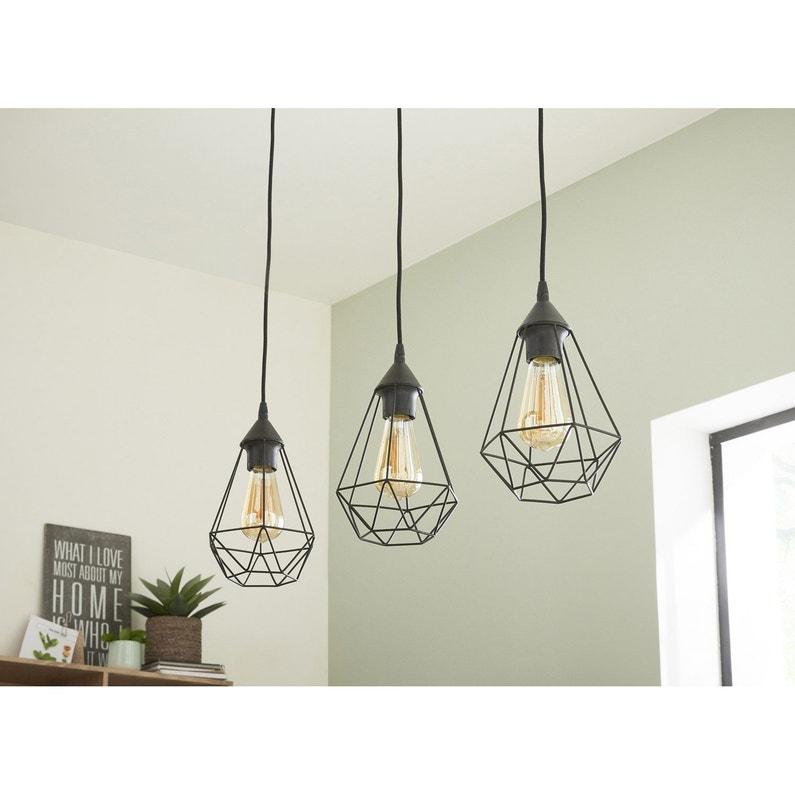 suspension e27 style industriel byron d17 5 m tal noir 3 x 60 w inspire leroy merlin. Black Bedroom Furniture Sets. Home Design Ideas