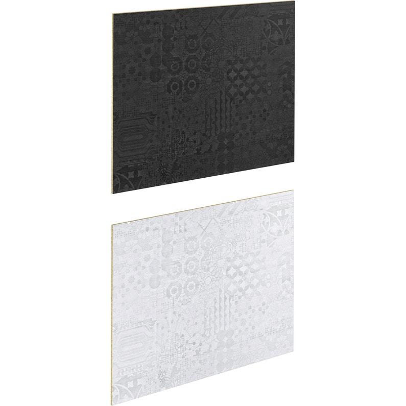 Crédence Stratifié Geom Noir Blanc H 64 Cm X Ep 9 Mm X L 300 Cm
