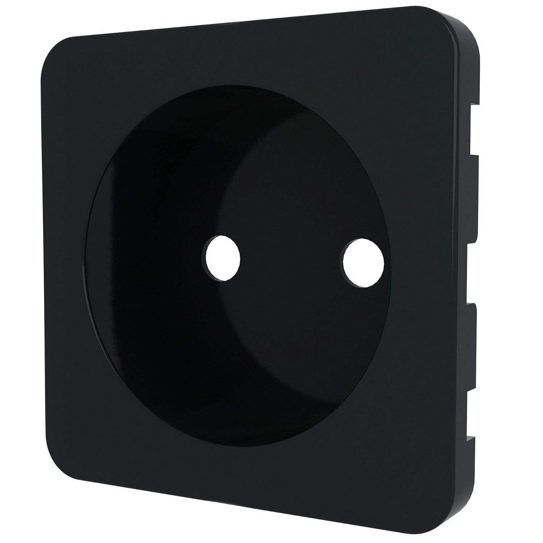 cache prise sans terre cosy lexman noir noir n 0 mat leroy merlin. Black Bedroom Furniture Sets. Home Design Ideas