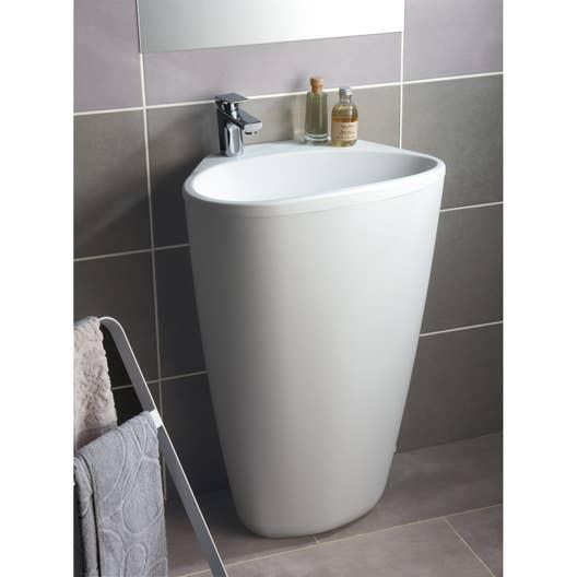 Lavabo colonne en r sine et marbre blanc stori leroy merlin for Leroy merlin lavatoio con mobile