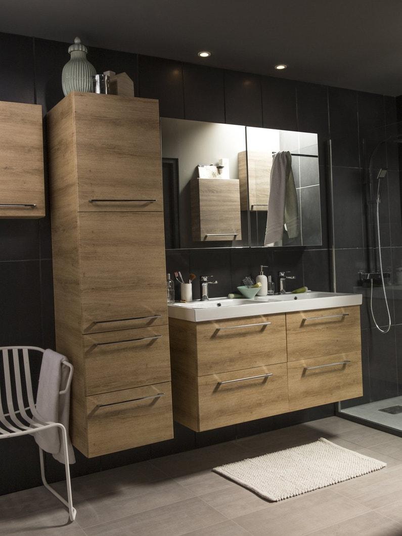 une salle de bains fonctionnelle et chaleureuse leroy merlin. Black Bedroom Furniture Sets. Home Design Ideas