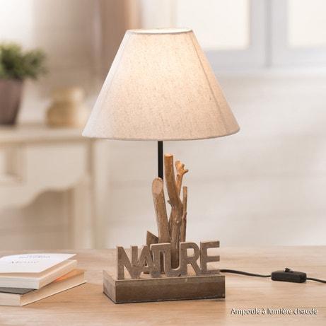 Une lampe à poser en bois flotté pour une décoration nature