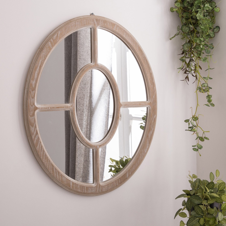 Miroir Charme ovale, chêne clair, l.55 x H.68 cm