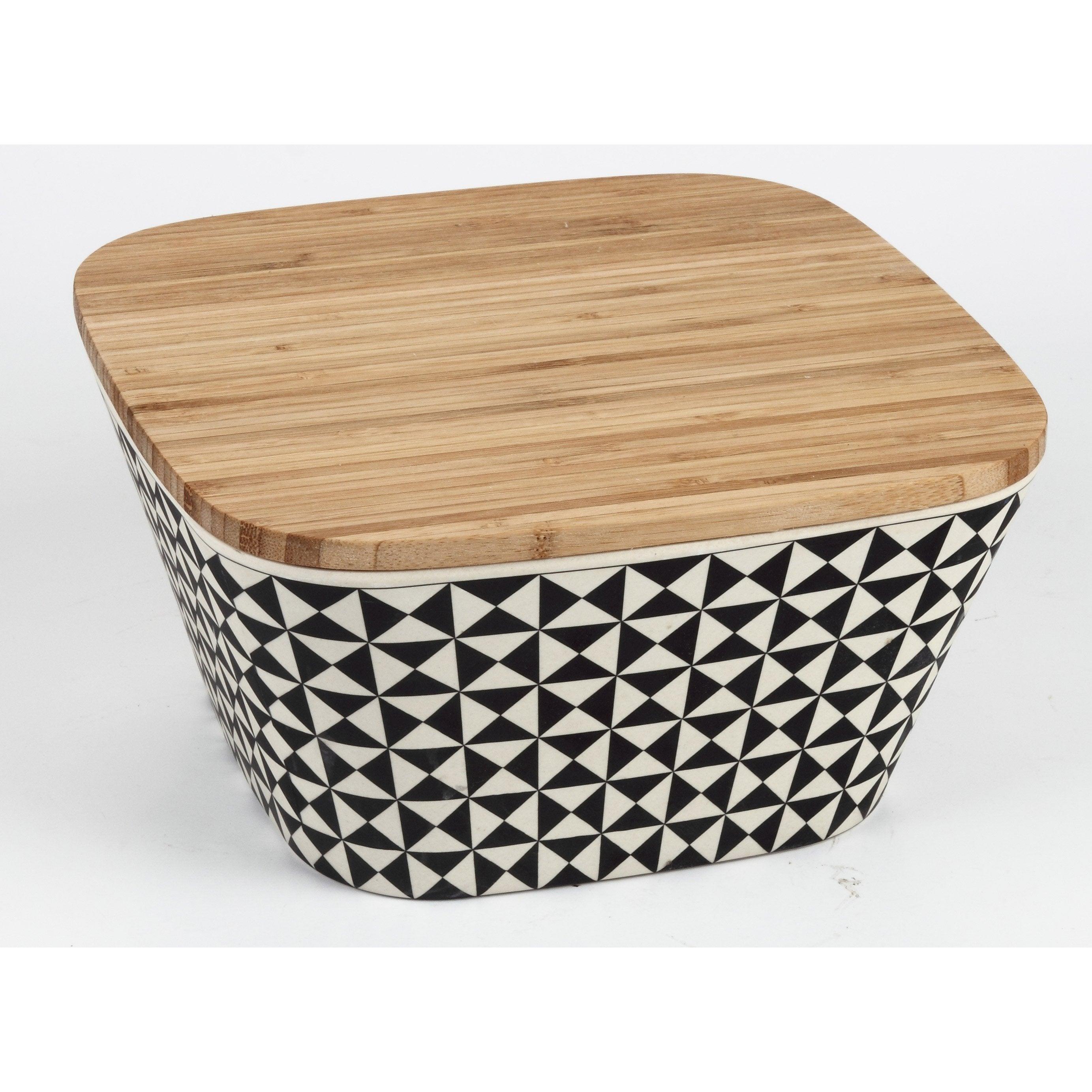 Boîte bambou Hexa blanc/noir H.11.5 x l.22.5 x P.22.5 cm