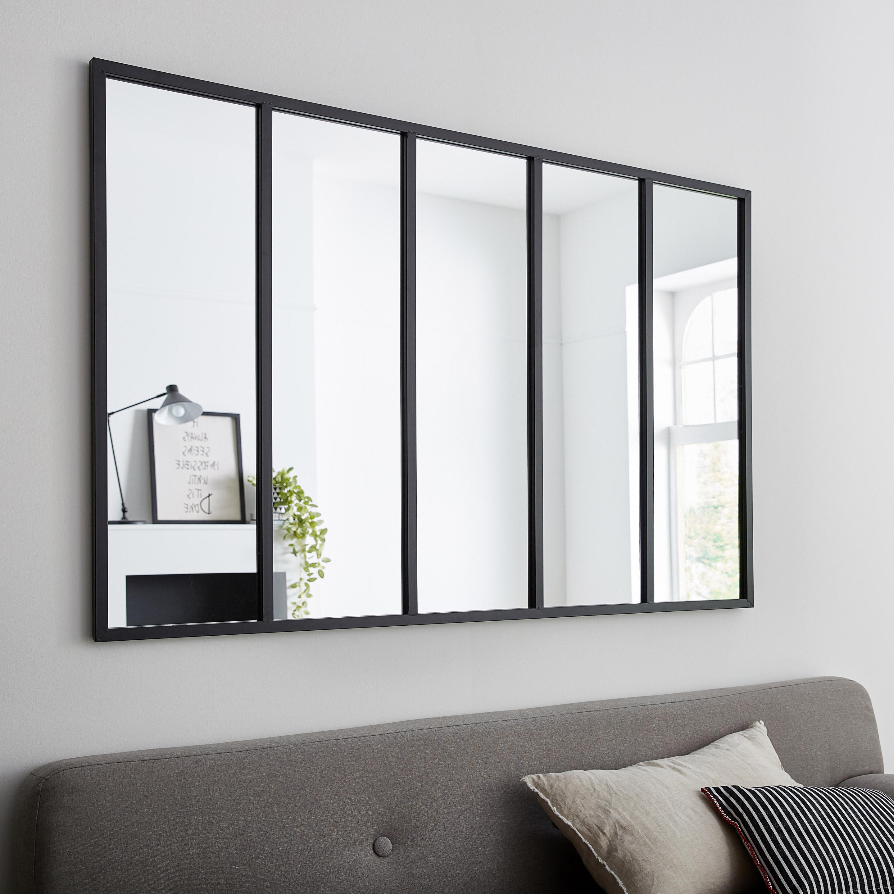 Miroir rectangulaire Atelier jardin, noir, l.140 x H.90 cm