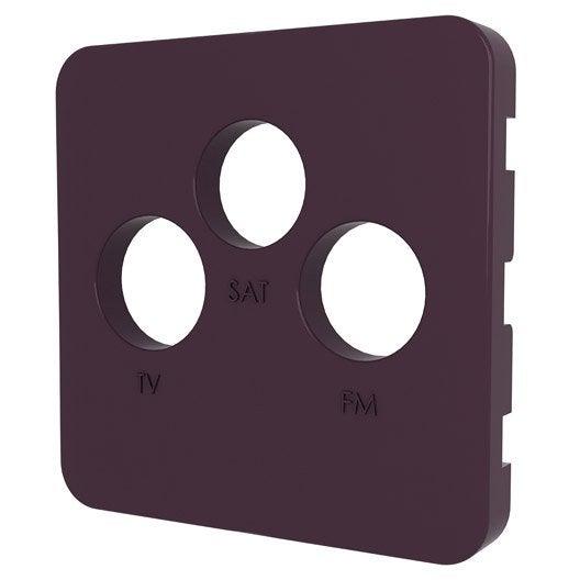 cache prise tv fm sat cosy lexman violet aubergine n 1 leroy merlin. Black Bedroom Furniture Sets. Home Design Ideas