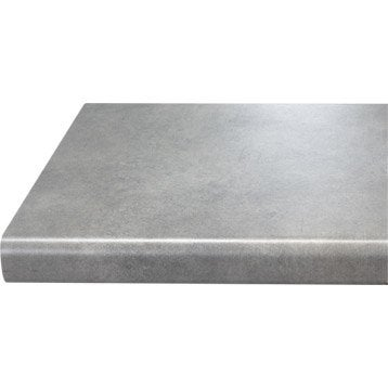 Chant de plan de travail stratifié Effet béton clair Mat L.500 l.4.5cm, Ep.0.5mm
