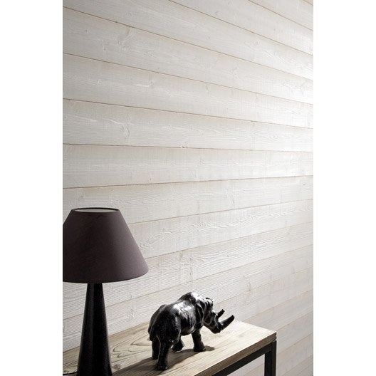 Lambris sapin brossé blanc ARTENS, L.205 x l.13.5 cm, Ep.11 mm