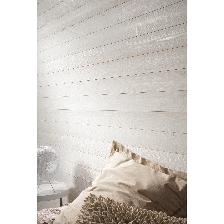 Lambris sapin brossé blanc ARTENS, L.205 x l.10 cm, Ep.8 mm
