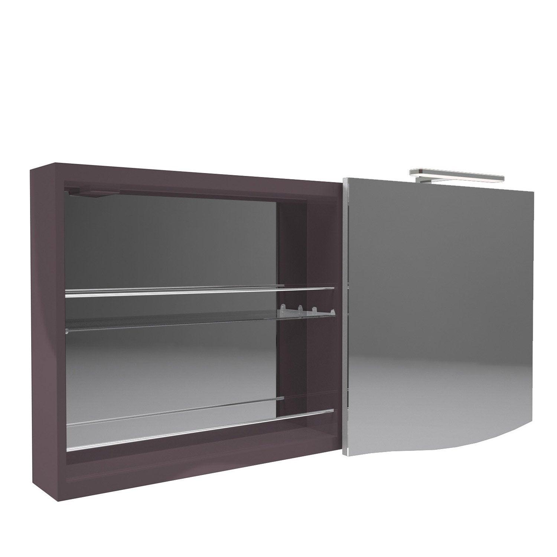 armoire de toilette lumineuse l 130 cm marron decotec elegance leroy merlin. Black Bedroom Furniture Sets. Home Design Ideas
