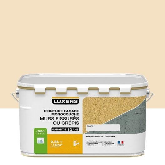 Peinture fa ade murs fissur s luxens sable 2 5 l leroy for Peinture 100 acrylique exterieur