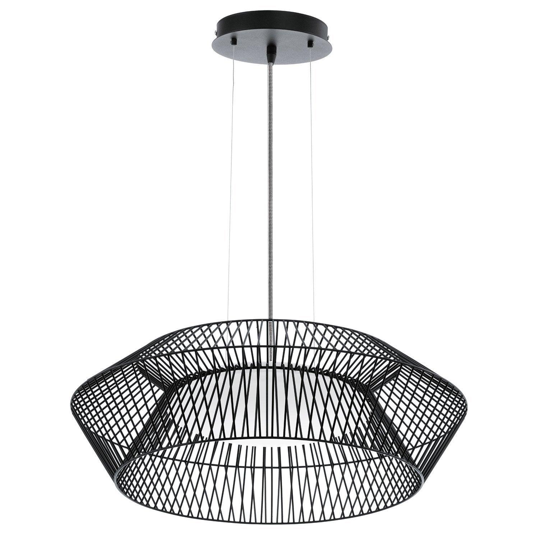 suspension led int gr e design piastre m tal noir 1 x 18 w eglo leroy merlin. Black Bedroom Furniture Sets. Home Design Ideas