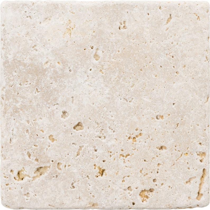 Travertin mur et sol pierre ivoire mat l.20 x L.20 cm, Travertin ...