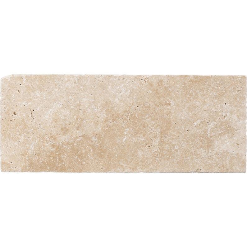 Pierre naturelle sol et mur ivoire, Travertin l.20 x L.50 cm | Leroy ...