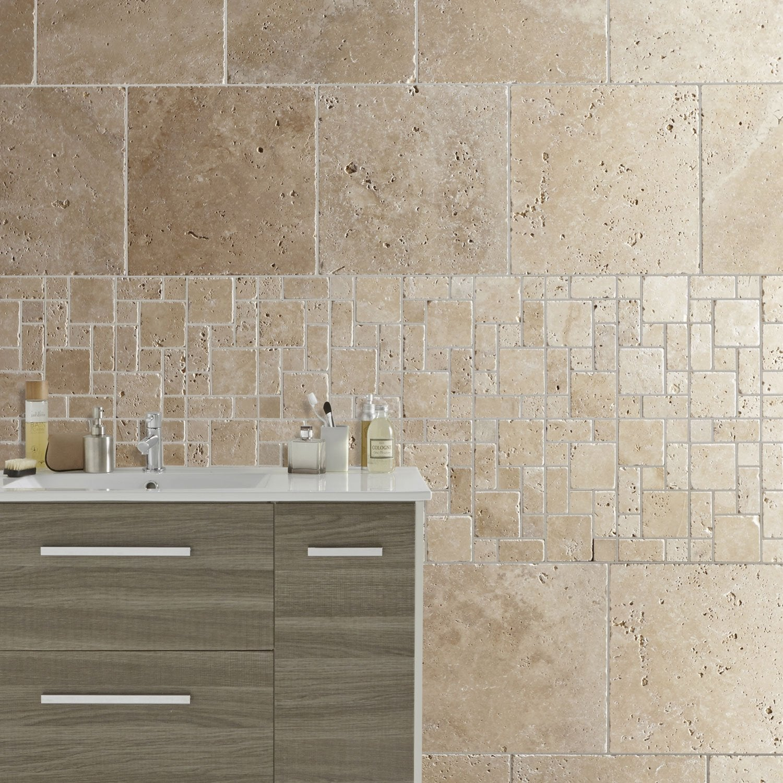 Travertin sol et mur intenso effet pierre beige Travertin l.40.6 x L.40.6 cm