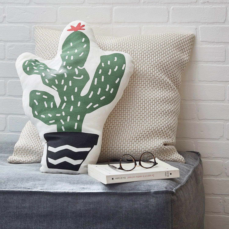 Coussin Texas cactus INSPIRE, vert / blanc / noir l.34 x H.58 cm