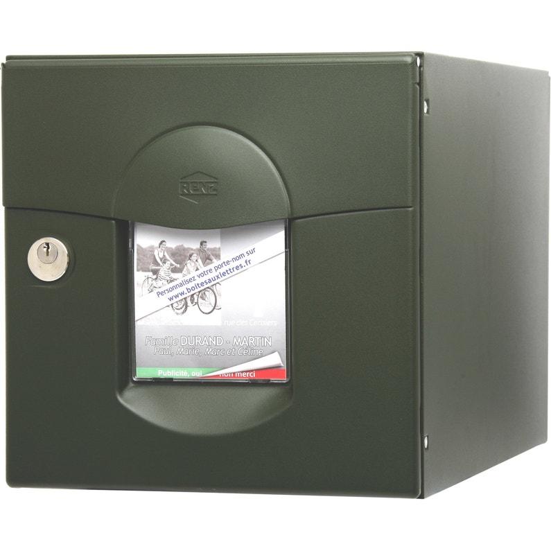 Boîte Aux Lettres Normalisée 2 Portes Extérieur Renz Acier Vert Mat