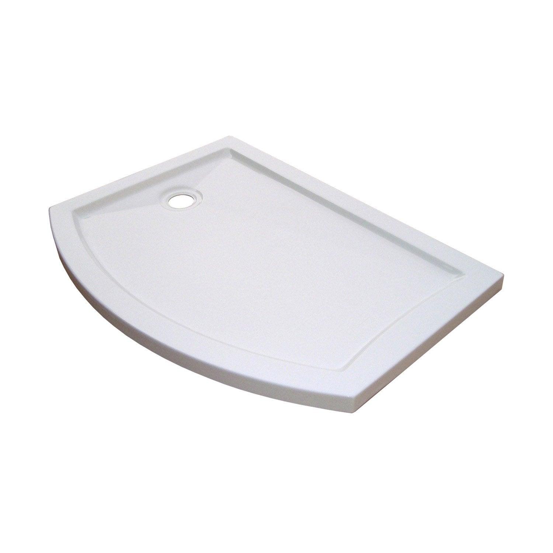 receveur de douche asym trique 25 x 90 cm acrylique blanc look version gauche leroy merlin. Black Bedroom Furniture Sets. Home Design Ideas
