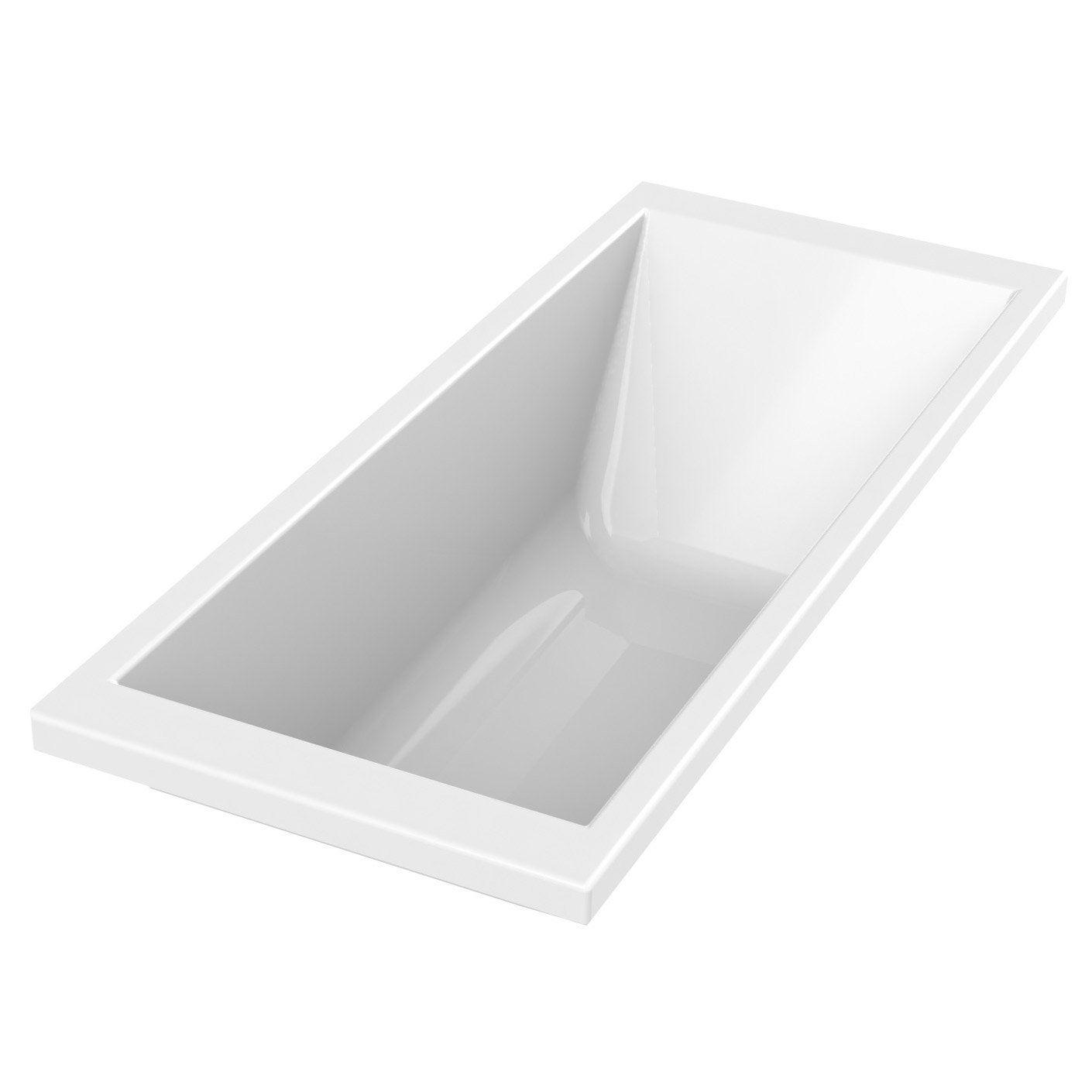 Baignoire rectangulaire L.175x l.75 cm blanc, SENSEA Premium