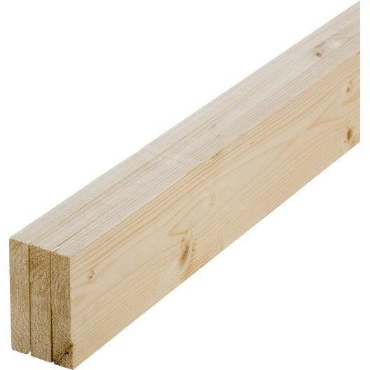 Lot de 3 planches sapin petits noeuds raboté, 18 x 96 mm, L.1.8 m